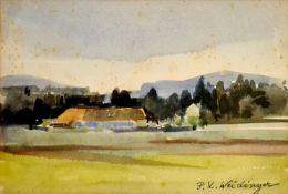 Landschafts Aquarell , 1.Hälfte 20.Jhd, signiert :Weidinger, Größe Passepartoutausschnitt:18x