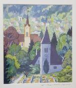 Reinhold Stecher 1921-2013, Lithographie, Blick auf den Mühlauer Friedhof, gerahmt