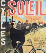 Soleil Cycles frühe Plakatreproduktion, teilweise beschmutzt, knickstellenMaße: