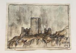 Josef Mahlknecht , (1827-1969), Burgruine , Aquarell auf Papier, signiert u. datiert,Größe: 17