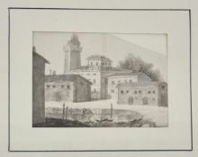 Dorf in Italien , um 1800, Schwarze Kreide , Feder und Pinsel, Passepartoutausschnitt: 6,5x9,6c