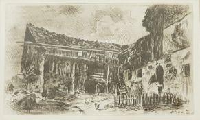 Franz Schwetz (Salzburg 1910-1969 Innsbruck)Radierung,Bauernhaus oberhalb von Lienz, signierts: