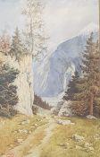 Berglandschaft, Aquarell auf Papier, signiert: Hans Praty , gerahmt, 26x40cm