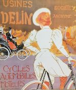 Usines Delin, alte Plakatreproduktion, teilweise geknickt und beschmutzt, Maße: 59x52 cm, Unger