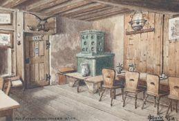 Wirtshausstube, Leo Sperk , aus Patsch beim untern Wirt ,1918 , Aquarell auf Papier, 16,5x11,5cm