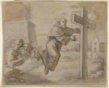 Duranti , Fortunato , (1787Monteforino-1863) , Mönch in schwebender Verzückung vor einem Kreuz