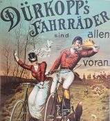Dürkopp's Fahrräder frühe Plakat Reproduktion, teilweise beschädigt , knickstellen