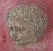Porträt eines Kindes, Mischtechnik auf Papier, gerahmt, signiert,1964, Passepartoutausschnitt 4