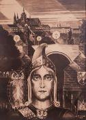 Sigmund Strudel Architekt, Halle ,Fotodruck, Mann in Rüstung mit Eule,im Hintergru