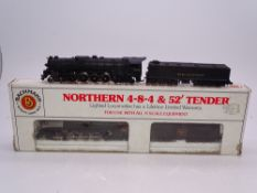 N Gauge: American Outline: A pair of BACHMANN Northern Steam locomotives in Burlington and