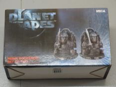 A boxed set of PLANET OF THE APES resin book ends - appear unused - E in VG box