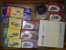 A tray of ATLAS editions - 'Classic Sport Cars' and 'Classic Motorbikes' Collectable models - VG/E