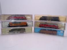 N Gauge: American Outline: A group of diesel locomotives in various liveries by ATLAS and LIFE-