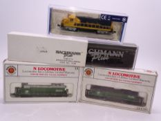 N Gauge: American Outline: A group of Diesel locomotives by BACHMANN - G/VG in F/VG boxes (4)