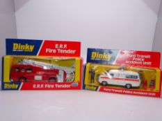A pair of DINKY emergency vehicles: comprising a 266 ERF FIRE TENDER and a 269 FORD TRANSIT POLICE