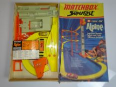 A MATCHBOX SUPERFAST Track 900 Alpine Set - appears complete with 1 unboxed SUPERFAST car - G/VG