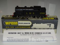 OO Gauge Model Railways: A WRENN W2215 Class N2 steam tank locomotive in LMS black livery - numbered