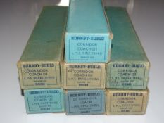 OO Gauge Model Railways: A group of HORNBY DUBLO 3-rail LMS Stanier coaches - G in F/G early post-