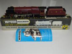OO Gauge Model Railways: A WRENN W2242 Duchess Class Steam locomotive in LMS maroon livery 'City