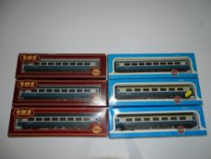 OO Gauge Model Railways: A group of AIRFIX Mark 2 coaches all in blue/grey livery - G/VG in G