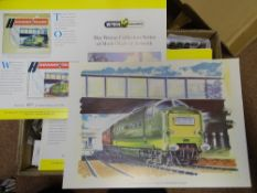 OO Gauge Model Railways: A large box of WRENN limited edition artwork posters based on the HORNBY