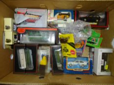 A large tray of mixed modern diecast by EFE, MATCHBOX etc together with a SCALEXTRIC car - mostly
