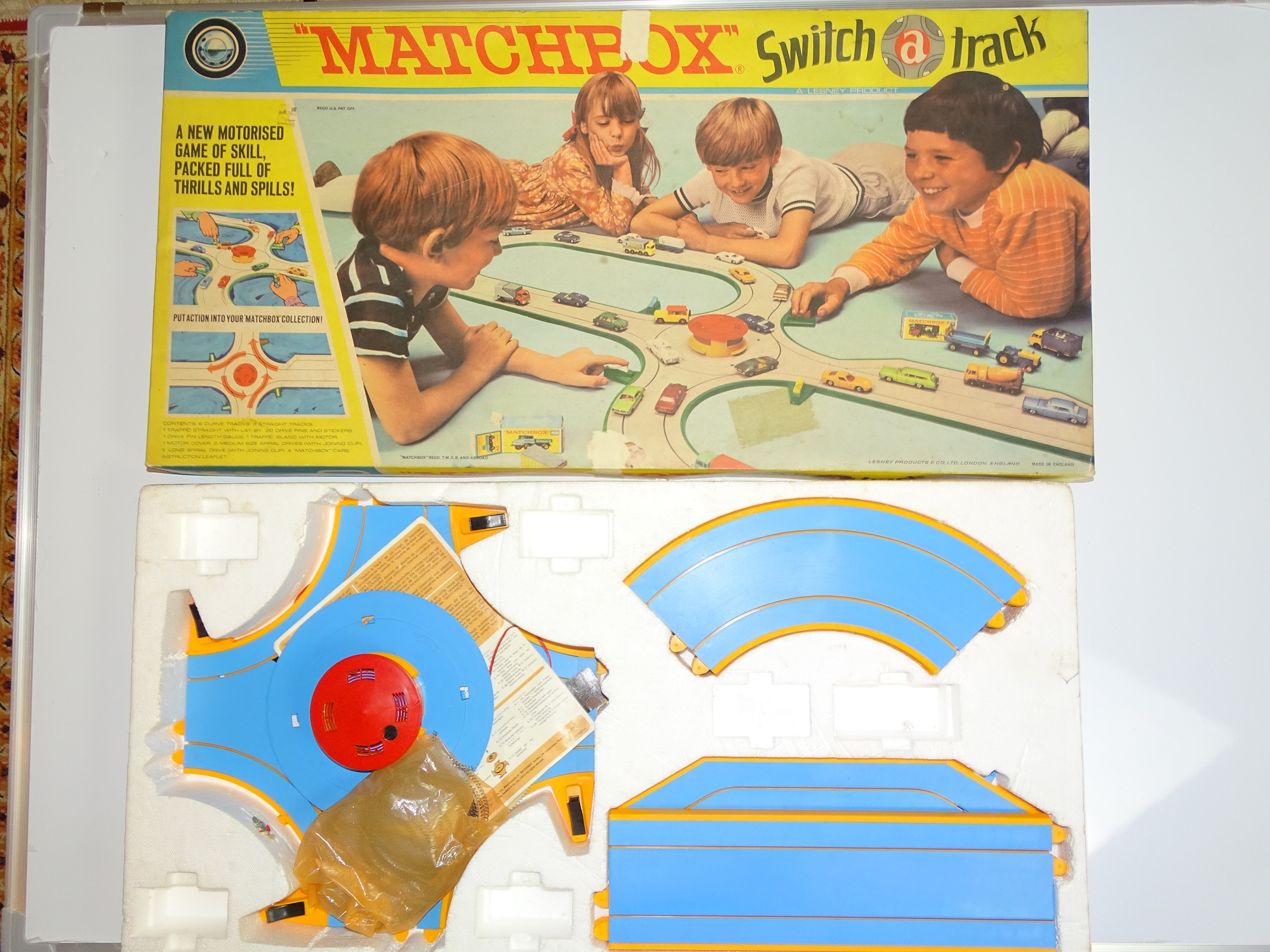 Lot 14 - A MATCHBOX SWITCH-A-TRACK Roadway Set - appears almost complete but cars are missing - G in F/G box