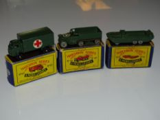 A group of three MATCHBOX 1:75 series military related vehicles numbers 49, 55 and 63 - all in
