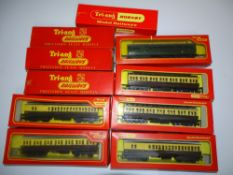 OO Gauge Model Railways: A group of TRI-ANG / TRI-ANG HORNBY clerestory coaches, mostly in GWR