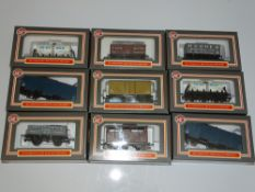 OO Gauge Model Railways: A group of DAPOL boxed WRENN wagons from the early days following the
