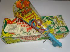 A MARX Jungle Shooting Range game - complete with metal stands, metal ball amunition and