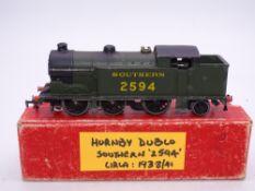 OO Gauge Model Railways: A HORNBY DUBLO EDL7 3-rail N2 steam tank locomotive repainted in SR green
