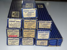 OO Gauge Model Railways: A mixed group of HORNBY DUBLO 3-rail coaches - generally G in F/G boxes (
