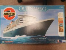 An AIRFIX 1:600 Scale kit of 'The Queen Mary 2' Trans-Atlantic Liner - appears complete and