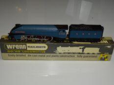 OO Gauge Model Railways: A WRENN W2212A Class A4 steam locomotive in LNER blue livery 'Sir Nigel