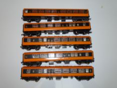 OO Gauge Model Railways: A group of HORNBY Mark 2 coaches in Irish CIE orange and black livery,