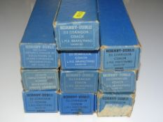 OO Gauge Model Railways: A group of HORNBY DUBLO 3-rail LMS Stanier coaches - G in F/G boxes (10)