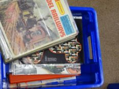 OO Gauge Model Railways: A large crate full of model railway catalogues by TRI-ANG, HORNBY and