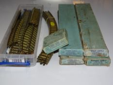 OO Gauge Model Railways: A large quantity of HORNBY DUBLO boxed and unboxed rare clockwork track -