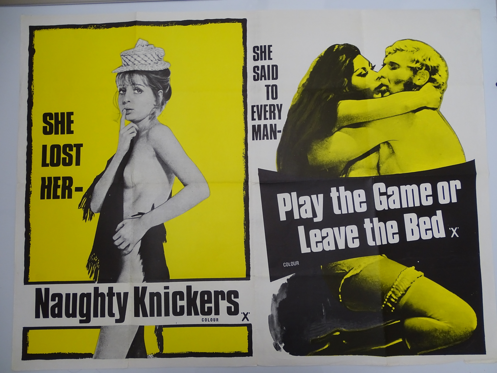 Selection of UK Quad Film Posters: NAUGHTY KNICKERS / PLAY THE GAME OR LEAVE THE BED; CHARLOTTE: THE