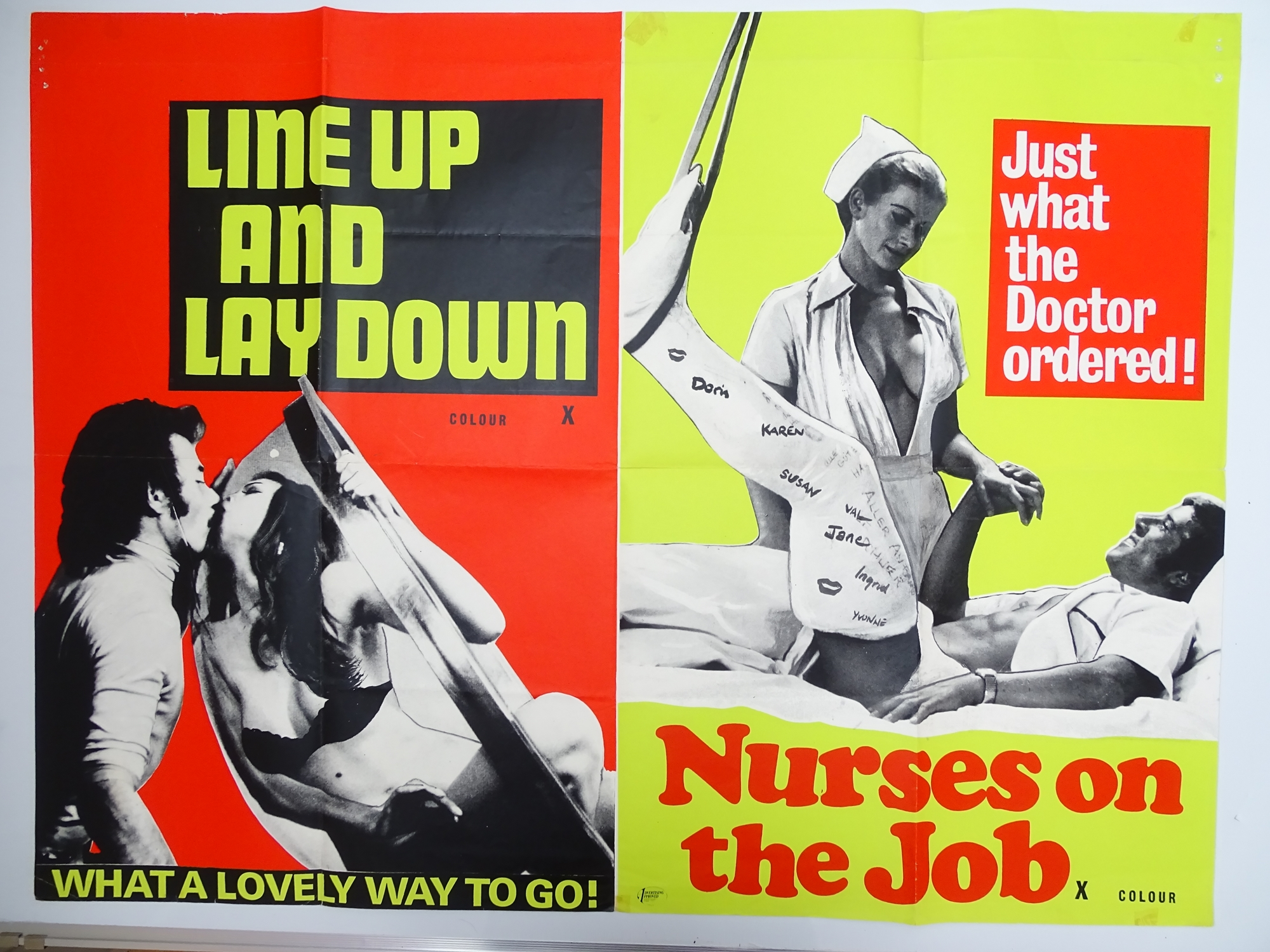 Selection of UK Quad Film Posters: FORBIDDEN DECAMERON; DE L'AMOUR; LINE UP AND LAY DOWN / NURSES ON - Image 2 of 10