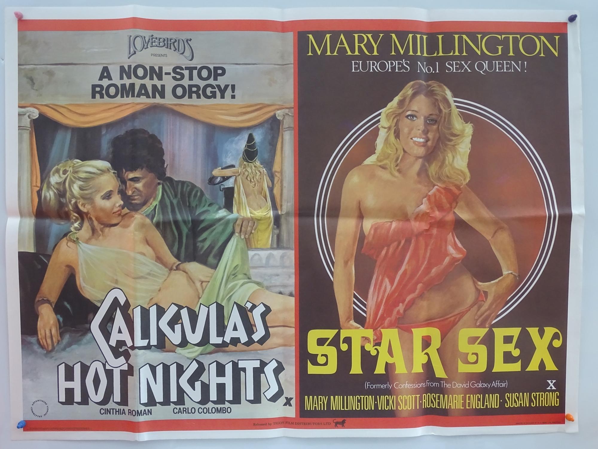"CALIGULA'S HOT NIGHTS / STAR SEX (1977) - UK Quad Double Bill - MARY MILLINGTON - 30"" x 40"" (76 x"