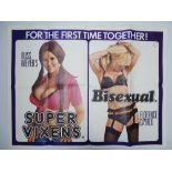 "SUPER VIXENS / BISEXUAL (1976) - Double Bill - UK Quad Film Poster - 30"" x 40"" (76 x 101.5 cm)"