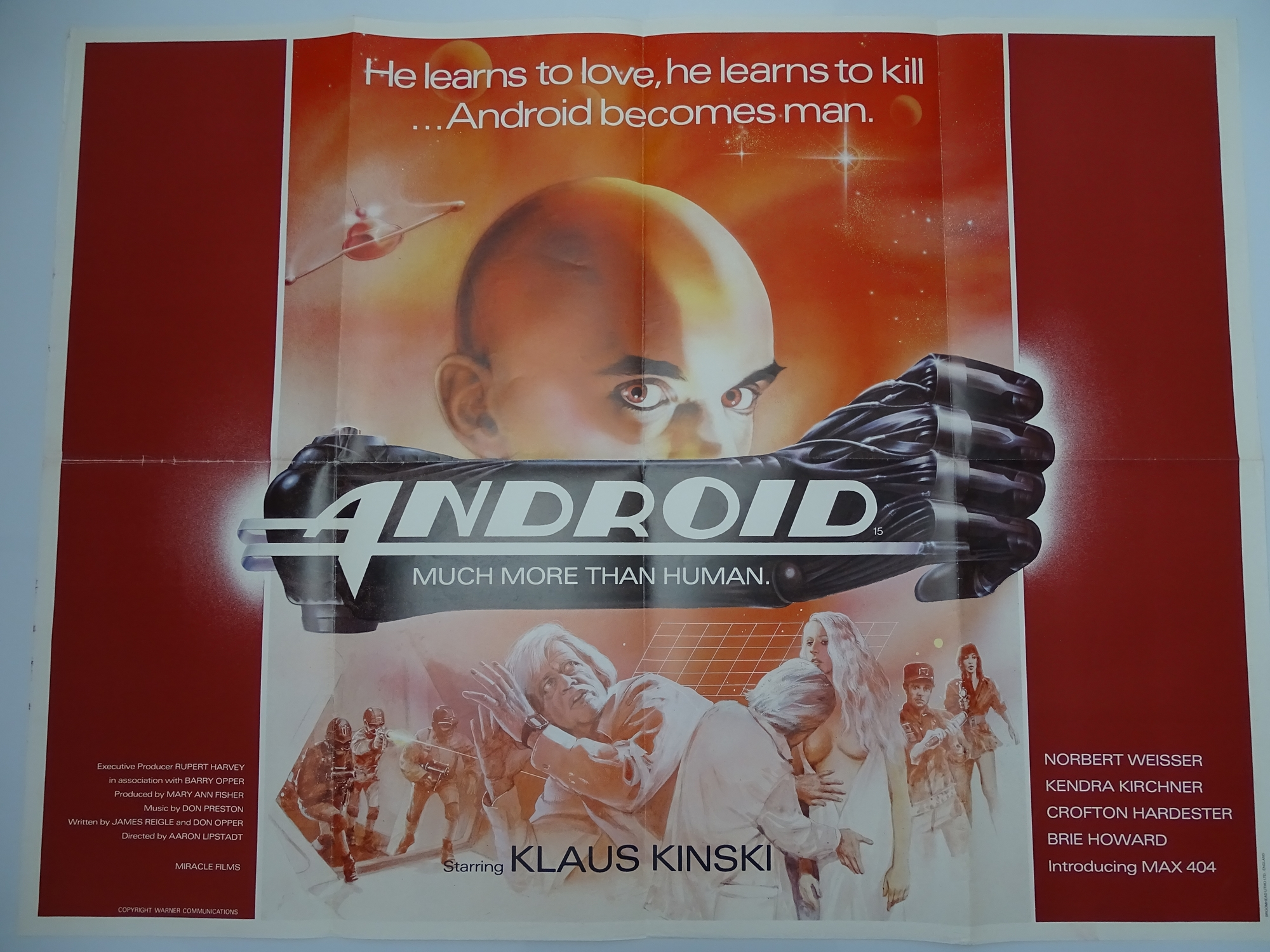 Group of 1970s/80s - UK Quad Film Posters: ANDROID (1982); THE BROOD (1979); SLAVERS (1978);