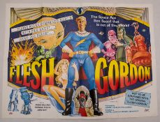 FLESH GORDON (1974) - UK Quad Film Poster - First Release - Uncensored version - Sam Peffer