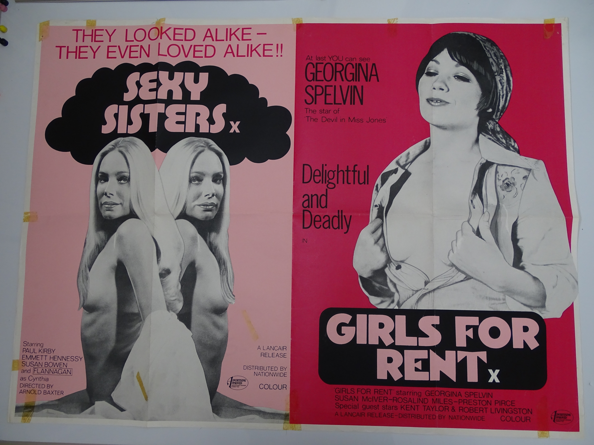 Selection of UK Quad Film Posters: GYMSLIP LOVERS / TEENAGE HITCH HIKERS; NAUGHTY NURSES / SEX - Image 10 of 10