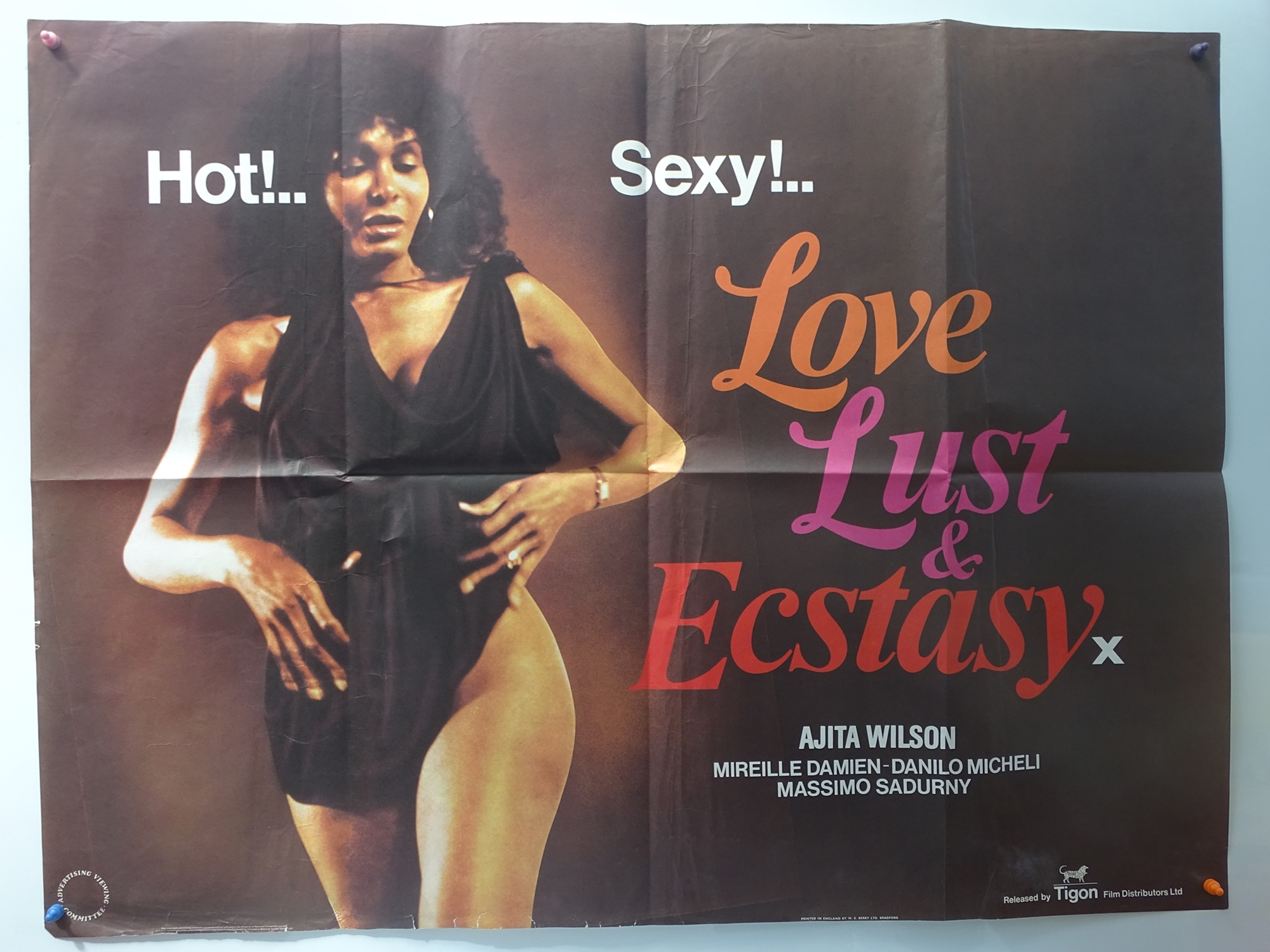 """LOVE, LUST AND ECSTASY (1981) - UK QUAD FILM POSTER - 30"""" x 40"""" (76 x 101.5 cm) - Folded (as issued)"""