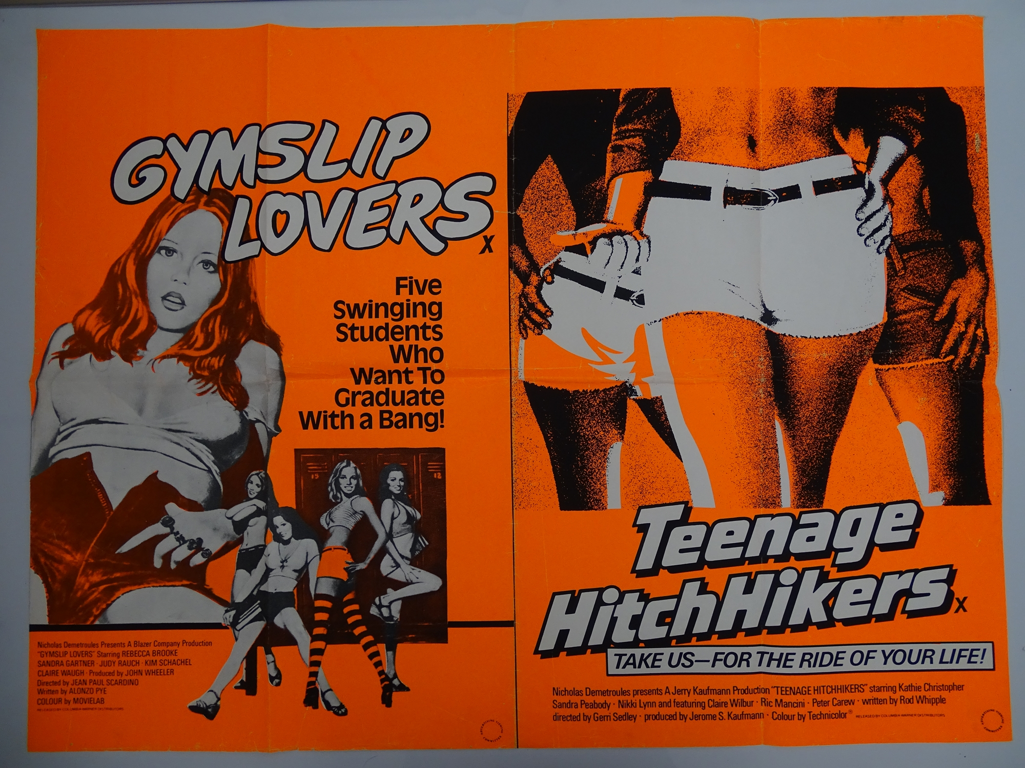 Selection of UK Quad Film Posters: GYMSLIP LOVERS / TEENAGE HITCH HIKERS; NAUGHTY NURSES / SEX - Image 8 of 10