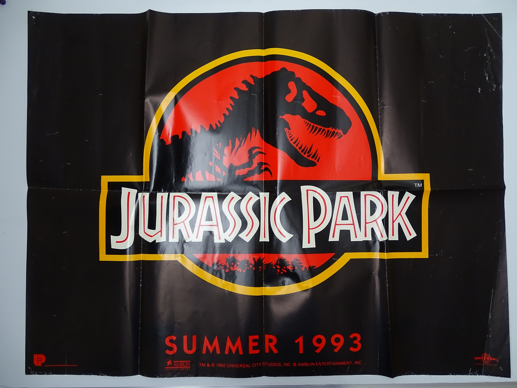 JURASSIC PARK (1993) - British UK quad film poster - Advance - STEVEN SPIELBERG - Classic T-REX logo