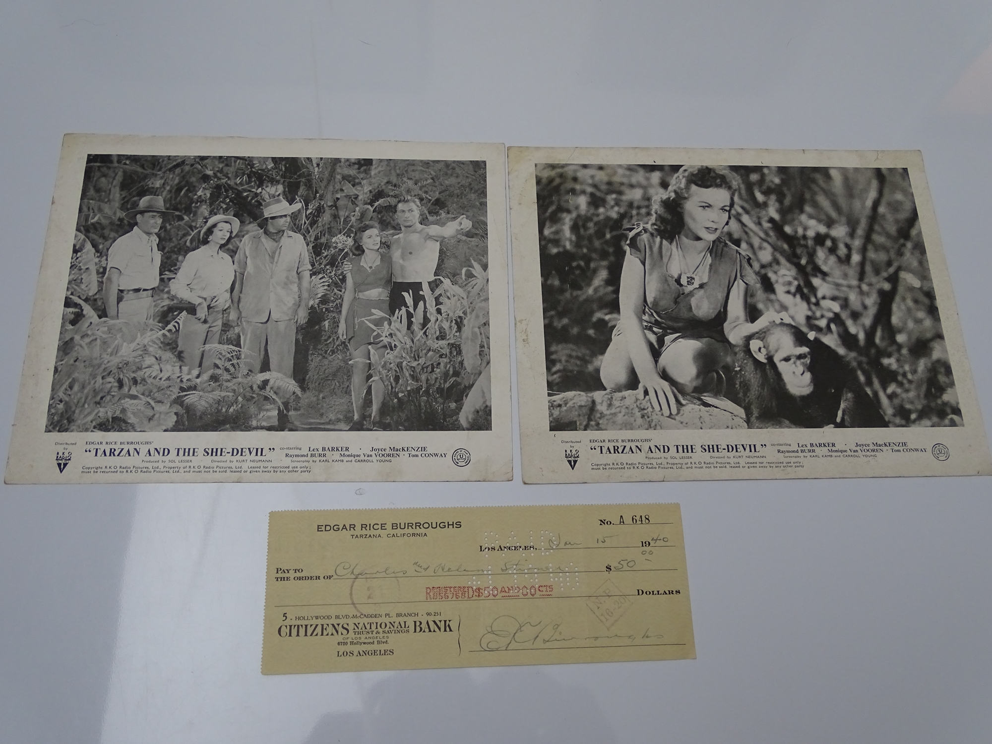 AUTOGRAPHS: EDGAR RICE BURROUGHS - Signed cheque - also endorsed to rear - together with two black /